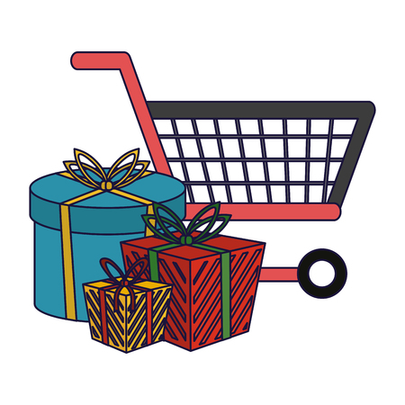 Shopping cart with bags symbol vector illustration graphic design Illustration