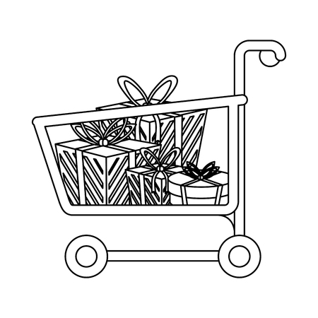 Shopping cart with bags symbol vector illustration graphic design Banque d'images - 127104223