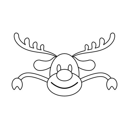 Christmas reindeer head with red nose and arms vector illustration graphic design