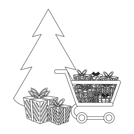 Christmas tree with gifts and shopping cart cartoons vector illustration graphic design Illustration