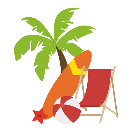 beach sunchair and palm vector illustration graphic design