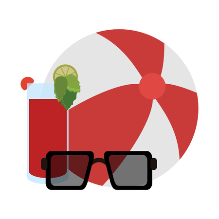 beach ball sunglasses and cocktail vector illustration graphic design