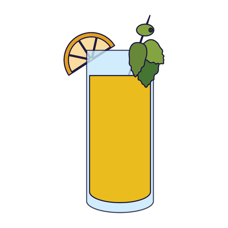 Cocktail with lemons and olive vector illustration graphic design