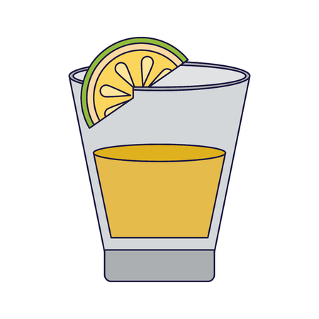 Tequila shot with lemon vector illustration graphic design Ilustração