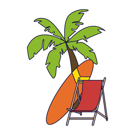 beach palm and sunchair with surf table vector illustration graphic design