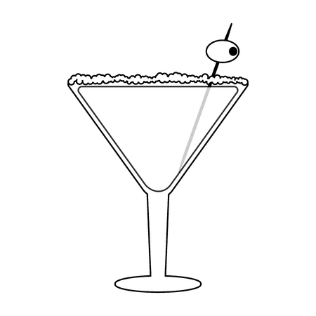Cocktail with olive in straw vector illustration graphic design