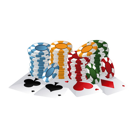 Poker chips and cards games vector illustration graphic design