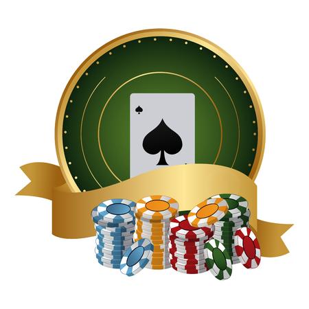 Poker card and chips with ribbon banner over emblem vector illustration graphic design Illustration