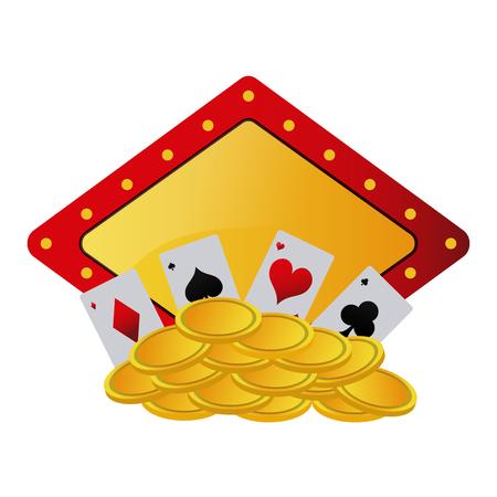 Poker card and coins over emblem vector illustration graphic design