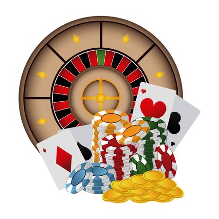 Poker chips and cards roulette vector illustration graphic design Illustration