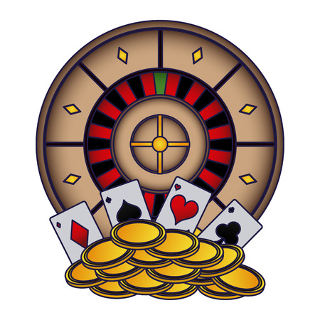 Poker cards and coins over roulettes vector illustration graphic design