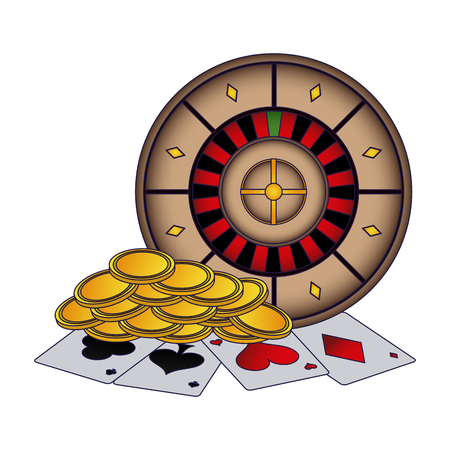 Poker cards and coins with roulette vector illustration graphic design Illustration