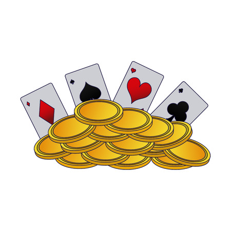 Poker card with coins stacked vector illustration graphic design