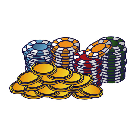 Poker chips and coins stacked vector illustration graphic design