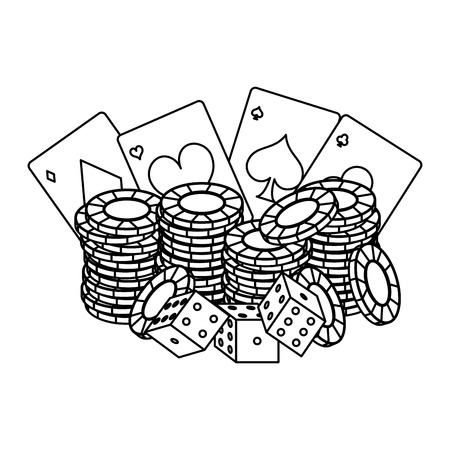 Poker chips and cards with dices vector illustration graphic design