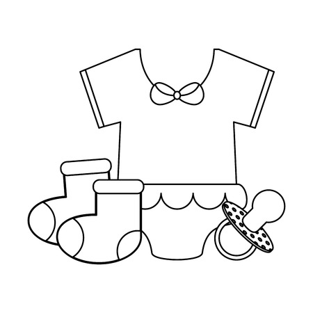 baby with socks and pacifier vector illustration graphic design