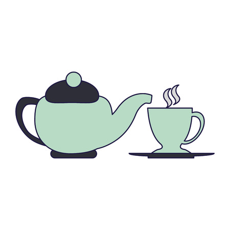 Tea kettle and cup vector illustration graphic design Illustration