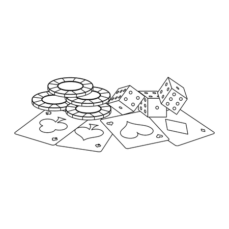 Poker chips and card with dices vector illustration graphic design