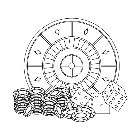 Poker chips and dices over roulette vector illustration graphic design