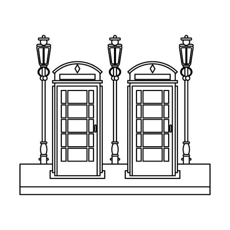 london telephone cabin on street vector illustration graphic design