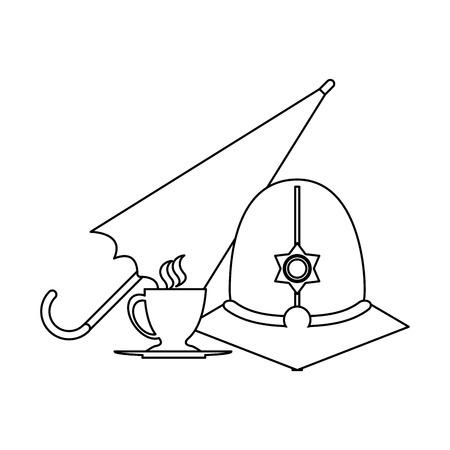 london custodian helmet with umbrella and tea cup vector illustration graphic design Illustration