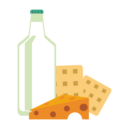 healthy food milk bottle waffles and cheese vector illustration graphic design