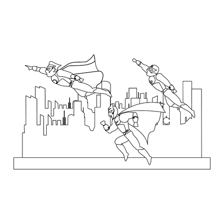 Superheros couple characters in the city vector illustration graphic design