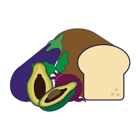 healthy food bread and avocado with eggplant vector illustration graphic design