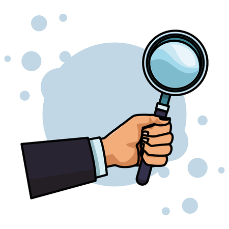magnifying glass hand holding colorful round icon vector illustration graphic design Illustration