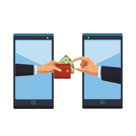 cellphone electronic transfer with hand transferring wallet with money colorful in white background vector illustration graphic design Illusztráció