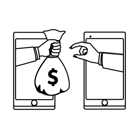 cellphone electronic transfer with hand transferring money bag drawing in white background vector illustration graphic design Illusztráció