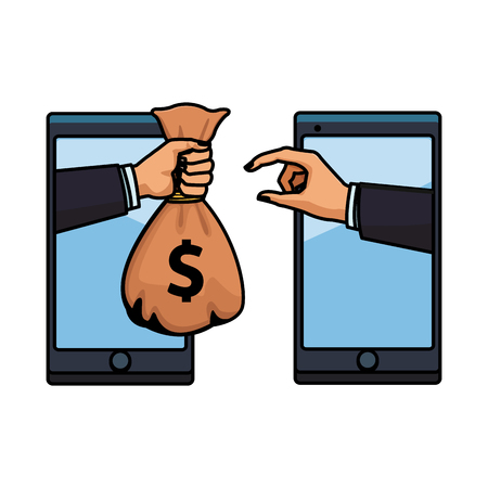 cellphone electronic transfer with hand transferring money bag colorful thick outline in white background vector illustration graphic design Illusztráció