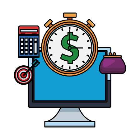 computer with stopwatch with financial icons calculator coin purse target colorful thick outline in white background vector illustration graphic design