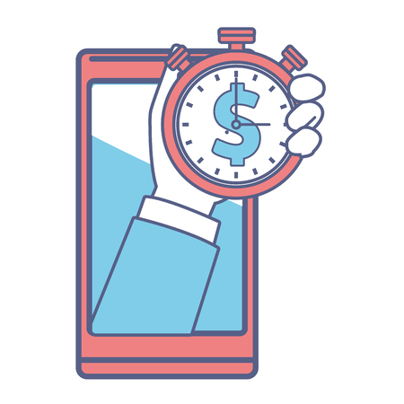 cellphone and stopwatch hand holding in white background vector illustration graphic design Ilustrace
