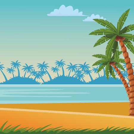 Scène de plage et de mer avec des feuilles de palmier seascape coloré vector illustration graphic design