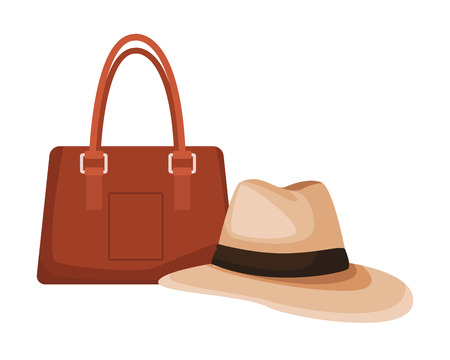panama hat and bag colorful in white background vector illustration graphic design