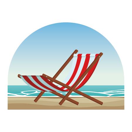 Diseño gráfico del ejemplo colorido del vector del paisaje marino del icono de la silla de playa