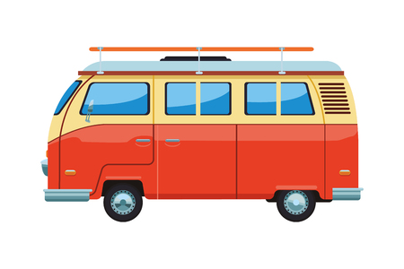 camper van icon isolates colorful in white background vector illustration graphic design