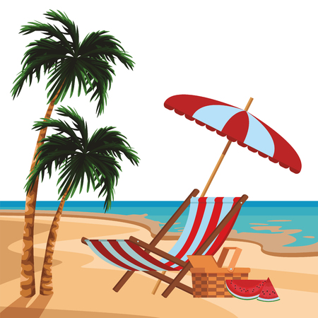 beach umbrella and chair with wicker basket and watermelon seascape colorful vector illustration graphic design