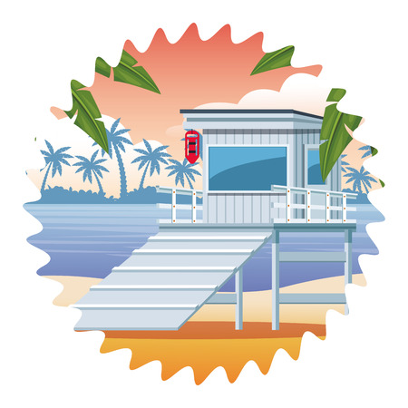 lifeguards tower icon seascape colorful round icon vector illustration graphic design