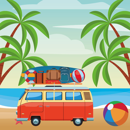 camper van and beach items surfboard ball baggage buoy seascape colorful vector illustration graphic design