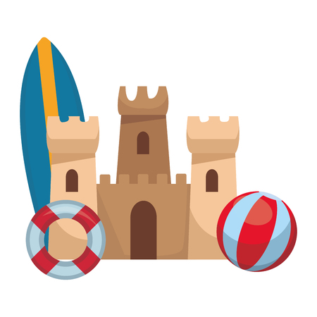 sand castle surfboard buoy beach ball colorful in white background vector illustration graphic design