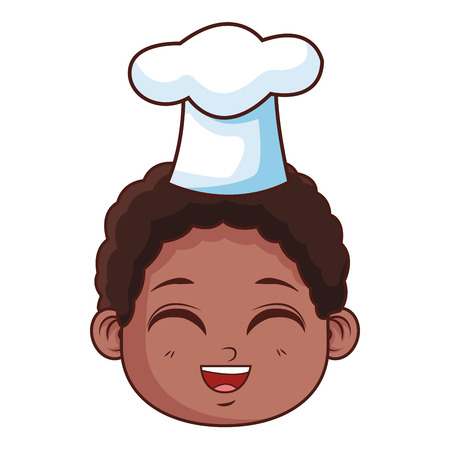 cute chef boy face cartoon vector illustration graphic design