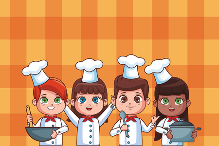 cute chef children cartoon vector illustration graphic design Иллюстрация