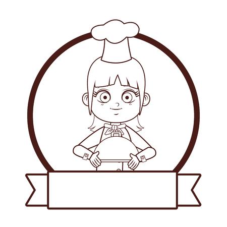 cute chef girl cartoon vector illustration graphic design