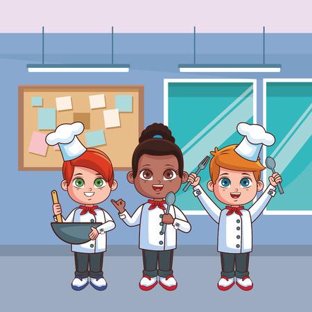 carino chef bambini all'interno della cucina fumetto illustrazione vettoriale graphic design