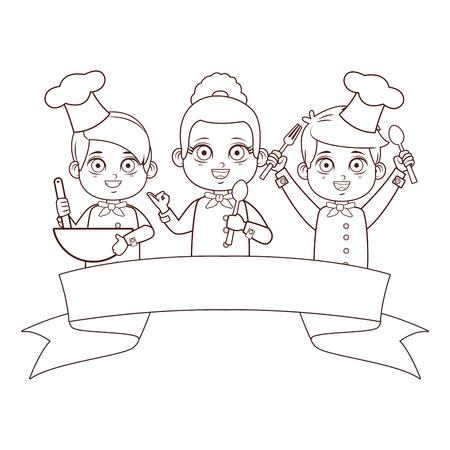 carino chef bambini fumetto illustrazione vettoriale graphic design Vettoriali