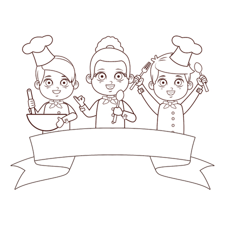 Chef mignon enfants cartoon vector illustration graphic design Vecteurs