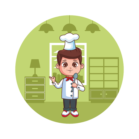 cute chef boy cartoon vector illustration graphic design