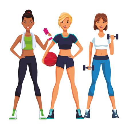 fit women doing exercise cartoon vector illustration graphic design